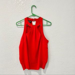 Bebe Red High Neck Tank Top